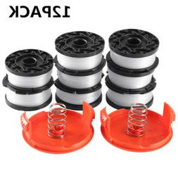 12PACK Trimmer Spool & Cap & Spring Replacement for Black De