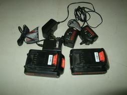 two  BLACK+DECKER CHARGER & Battery Packs LBXR20CK 20V Max