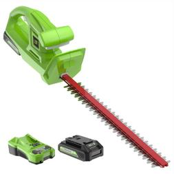 "Greenworks 20"" Cordless Hedge Trimmer Battery Powered 24V MA"