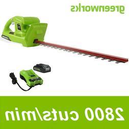 """Greenworks 24V 20"""" Cordless Hedge Trimmer Dual Action Blade"""