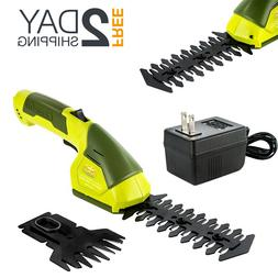 Cordless Hand Grass Shear Hedger Trimmer Rechargeable With B