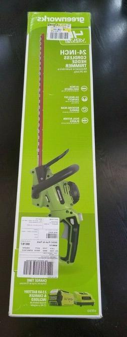 Greenworks 24-Inch 40V Hedge Trimmer 2.5 AH Battery &  Quick