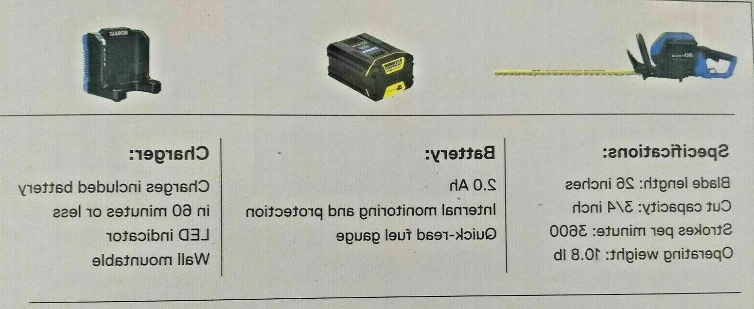 Kobalt 80v Hedge Trimmer w Battery & Charger KHT Brand