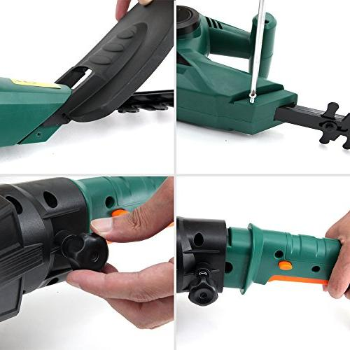 DOEWORKS Corded AMP Multi-Angle 3 1 Electric Hedge Trimmer with Handle, Dual Steel Blades