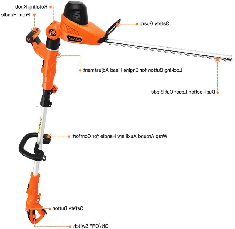 Garcare Pole Trimmer - Hedge Trimmer 2