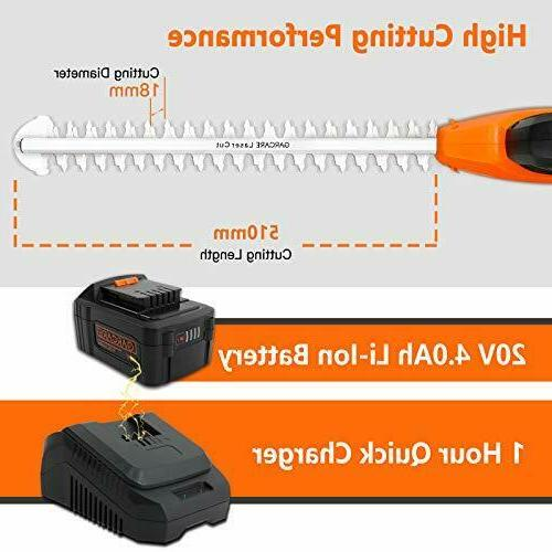 GARCARE Cordless Pole Trimmer Electric Hedge Trimmers