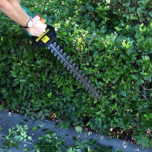 "DOEWORKS Li-ion Cordless Electric Hedge Trimmer, 20"" Steel Blades, Battery Charger"